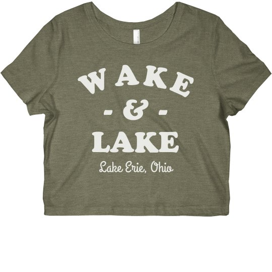 Wake & Lake Custom Funny Vacation Crop Tee
