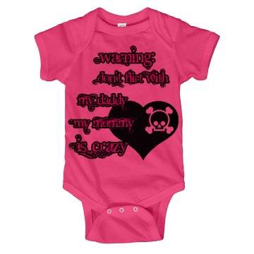 Warning Baby girl onsie