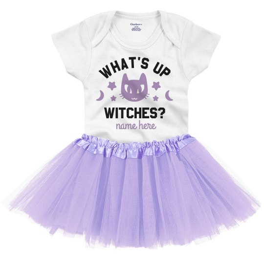 What's Up Witches Cute Halloween Baby Onesie & Tutu