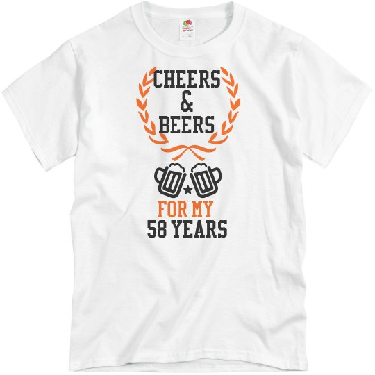 White birthday tee w/black & orange verbiage