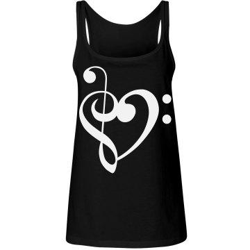 White Treble & Bass Clef Heart