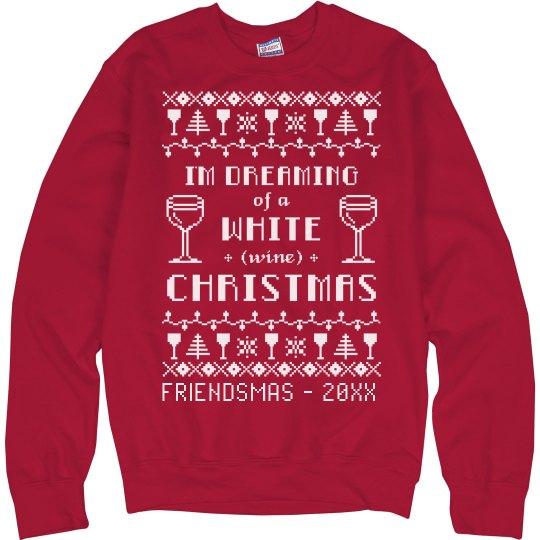 White Wine Friendsmas Ugly Sweater
