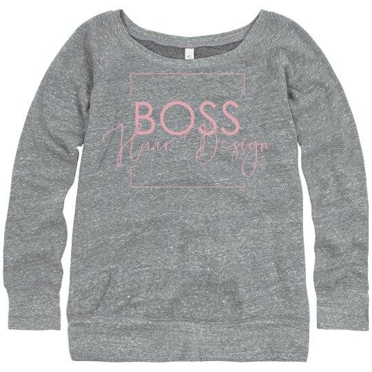 Wide Neck Sweatshirt- Grey