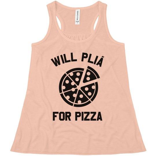 Will Plié For Pizza Cute Custom Ballet Racerback