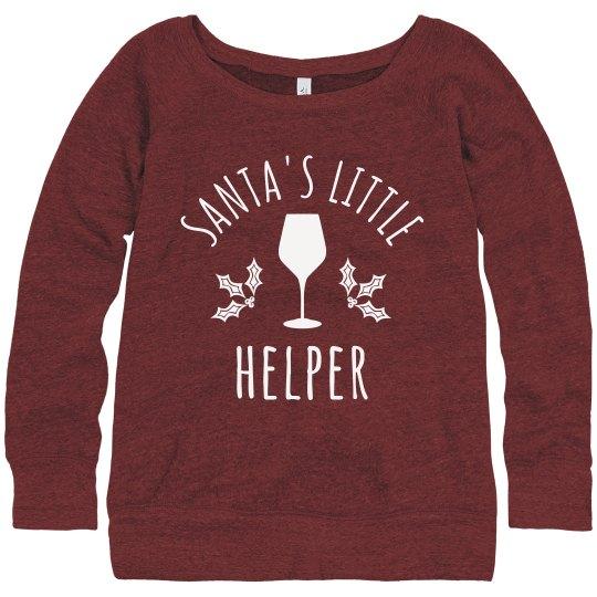 Wine Christmas Sweater Santa's Help