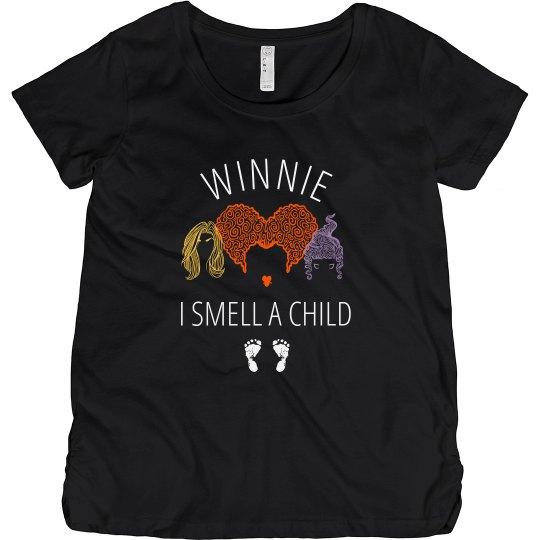Winnie I Smell A Child Halloween Maternity Cotton T Shirt