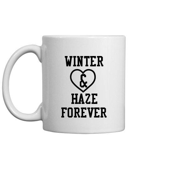 WINTER AND HAZE FOREVER white mug