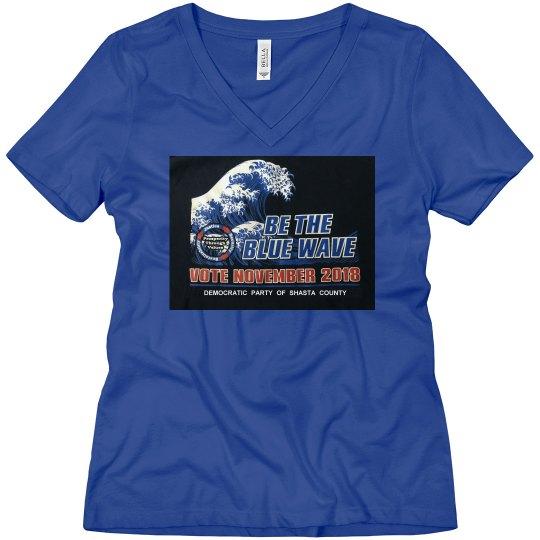 WOMANS DARK BLUE WAVE TEE