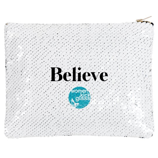 Women Kick Glass Believe Makeup Bag