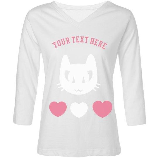 Womens Cat Lover Long Sleeved Shirt