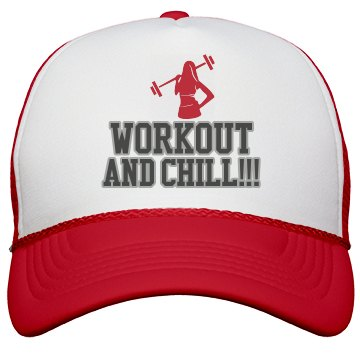 Workout and Chill Cap-Red