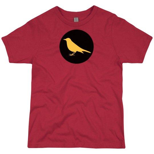 Yellow Robin in a Black Circle