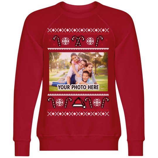 YOUR PHOTO Candy Cane Ugly Sweater