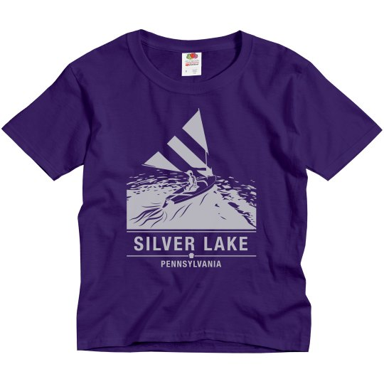 Youth SILVER LAKE Sailboat t-shirt with silver logo