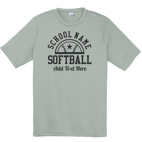 Youth Softball Star Custom Text Tee