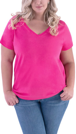 fcfd9c2ec65 Ladies Curvy Plus Size V-neck Tee
