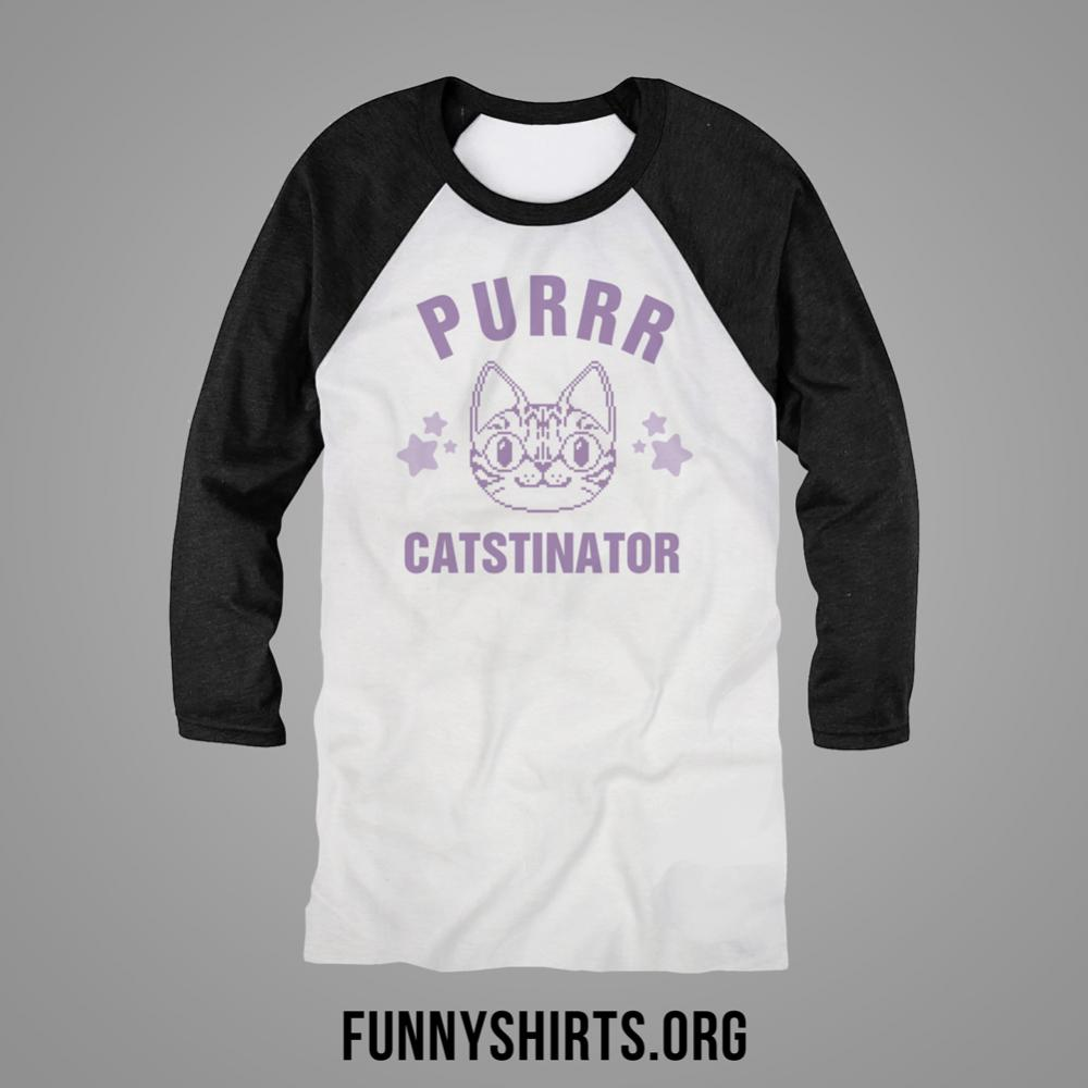I 39 m a terrible purrrcatstinator unisex 3 4 sleeve raglan t for T shirt design upload picture
