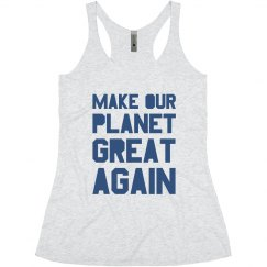Make our planet great again blue junior tank top.