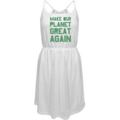 Make our planet great again light green dress.