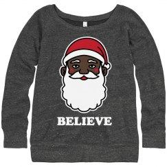 Ladies Black Santa Sweater