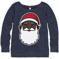 Ladies Black Santa Xmas Sweater