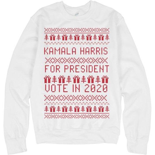 c5cd1c6c229 Kamala Harris Ugly Xmas Sweater Unisex Basic Promo Crewneck Sweatshirt