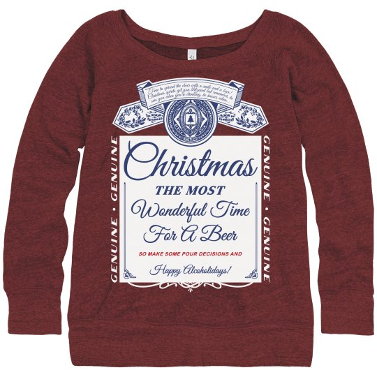 Beer Christmas Sweater.Funny Beer Label Ugly Sweater Xmas
