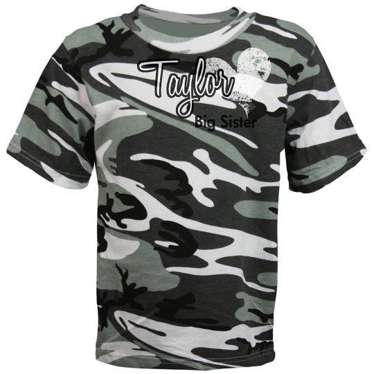 Big Sister Camo Tee Youth Camouflage T Shirt