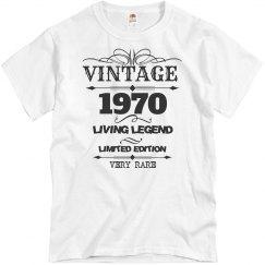 Vintage 1970 living legend very rare birthday shirt