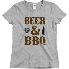 Beer and BBQ Ladies Relaxed Basic Tee