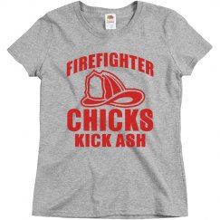 Firefighter Chicks Kick Ash Ladies Relaxed Basic Tee