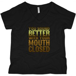 Mouth Closed V-Neck Plus Size Tee