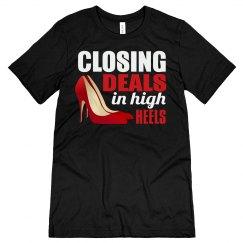 Closing Deals In High Heels Unisex Jersey Tee