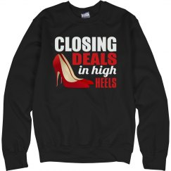 Closing Deal in High Heels Unisex Cotton Sweatshirt