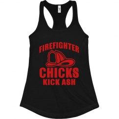 Firefighter Chicks Kick Ash Slim Racerback Tank
