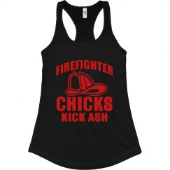 Firefighter Chicks Kick Ash Slim Racerback Tank