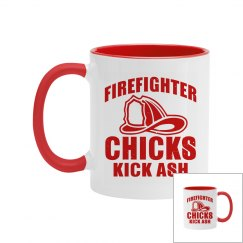 Firefighter Chicks Kick Ash Two-Tone Coffee Mug