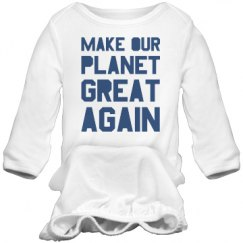 Make our planet great again blue long sleeve sleeper.