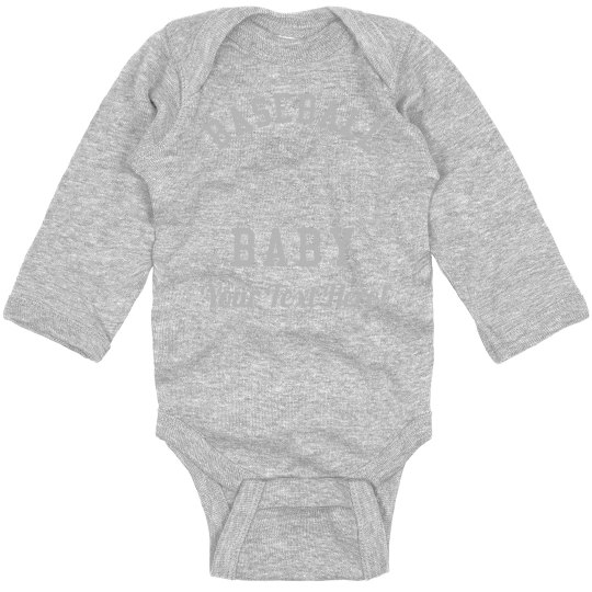 aa66fe296 Baseball Baby Bodysuit Custom Text Infant Long Sleeve Baby Rib Bodysuit