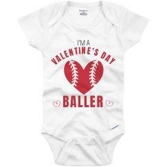 Valentine's Day Baller Onesie