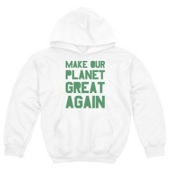 Make our planet great again light green kids hoodie.