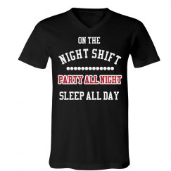 Party On The Night Shift Black T-Shirt