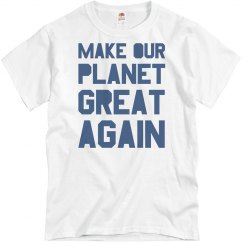 Make our planet great again blue men's shirt.