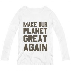 Make our planet great again brown maternity long sleeve