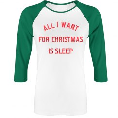 Metallic I Want Sleep For Christmas