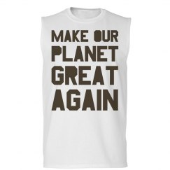 Make our planet great again brown men's tank top.