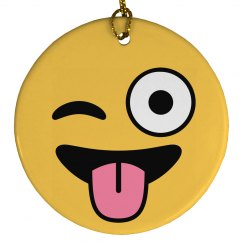 Emoji Winking Ornament