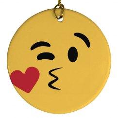 Kissy Face Emoji Ornament Left