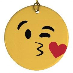 Kissy Face Emoji Ornament Right