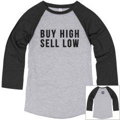 BUY HIGH SELL LOW [VINTAGE BASEBALL TEE]
